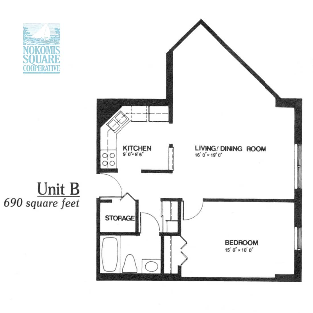 1 br Floorplan Unit B - Nokomis Square Senior Cooperative