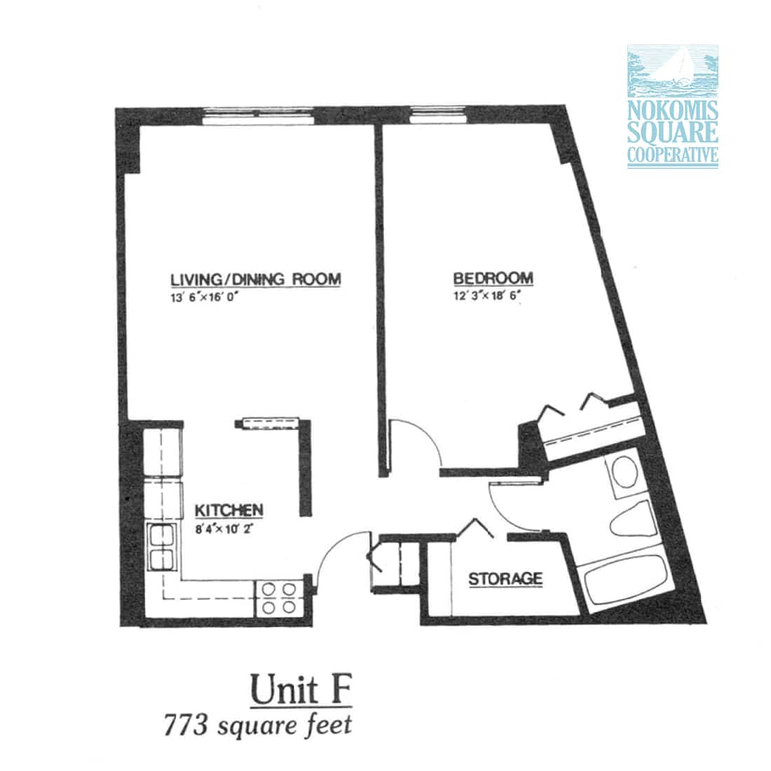 1 br Floorplan Unit F - Nokomis Square Senior Cooperative