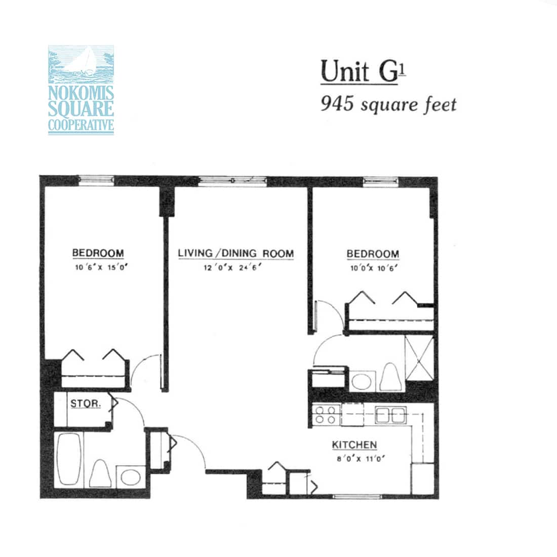 2 br Floorplan Unit G1 - Nokomis Square Senior Cooperative