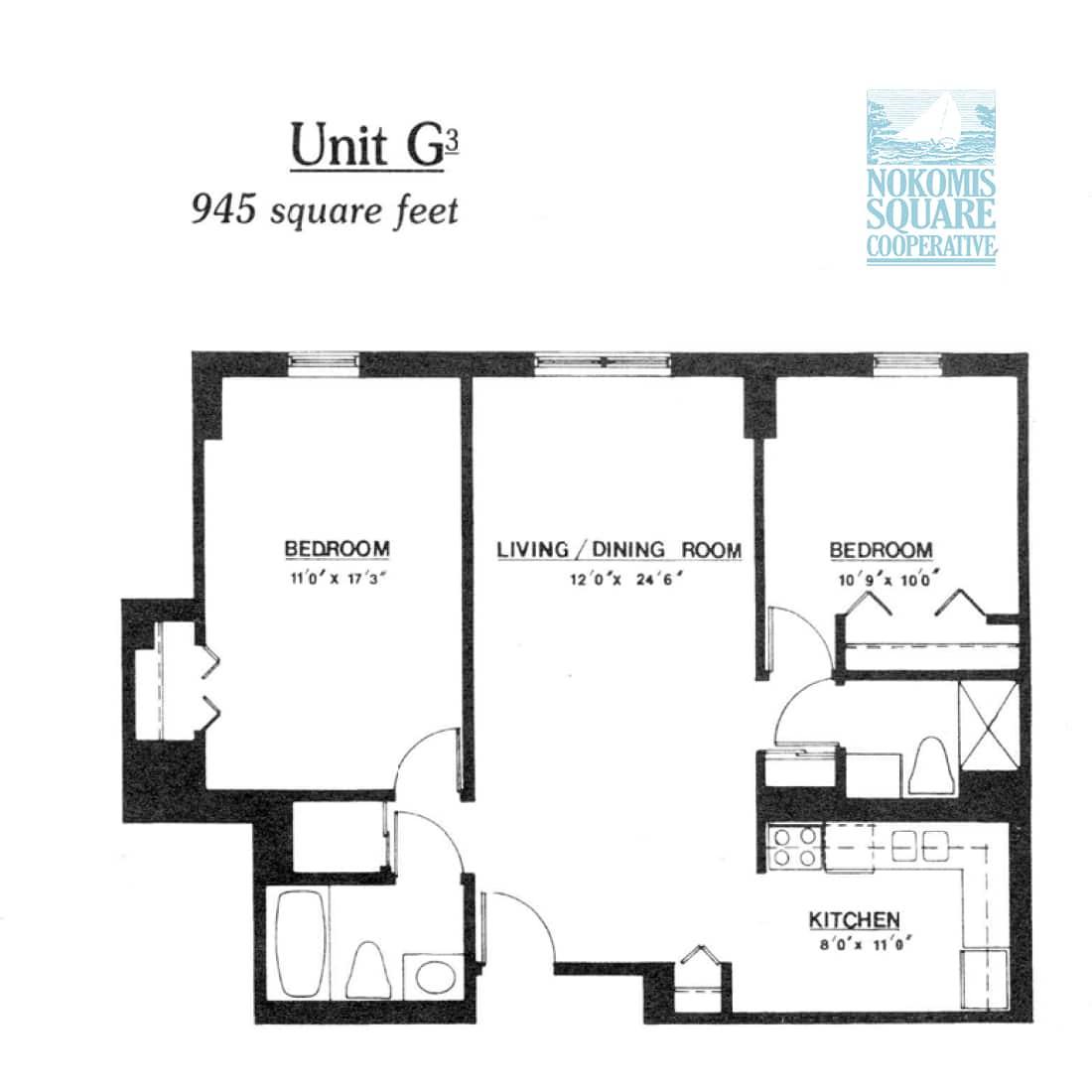 2 br Floorplan Unit G3 - Nokomis Square Senior Cooperative