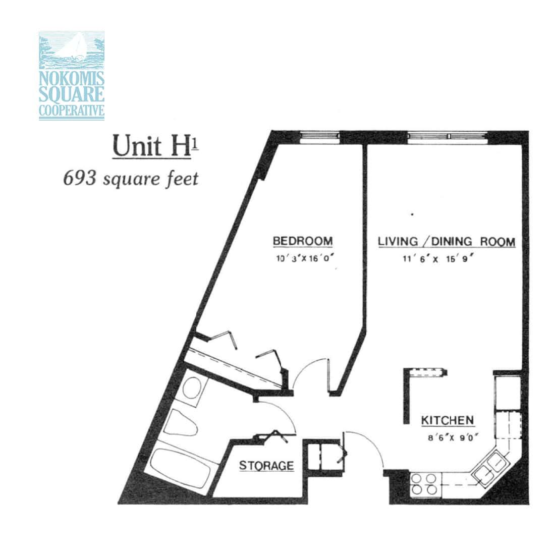 1 br Floorplan Unit H1 - Nokomis Square Senior Cooperative