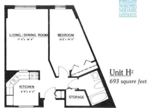 1 br Floorplan Unit H2 - Nokomis Square Senior Cooperative