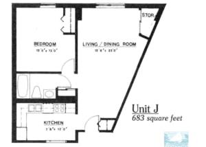 1 br Floorplan Unit J - Nokomis Square Senior Cooperative