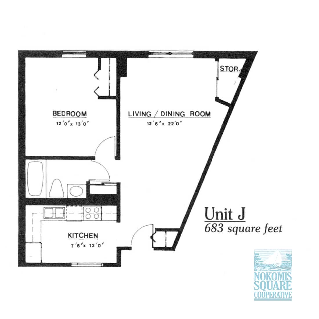1 br Floorplan Unit J - Nokomis Square Senior Cooperative