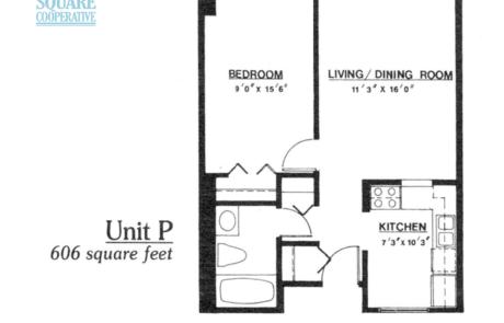 1 br Floorplan Unit P - Nokomis Square Senior Cooperative