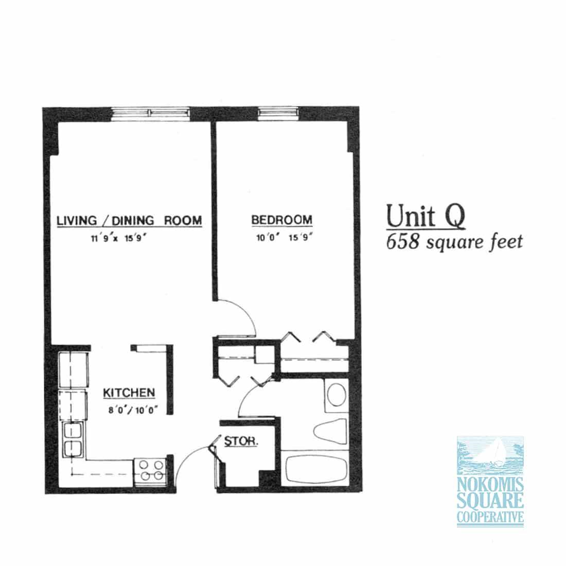 1 br Floorplan Unit Q - Nokomis Square Senior Cooperative