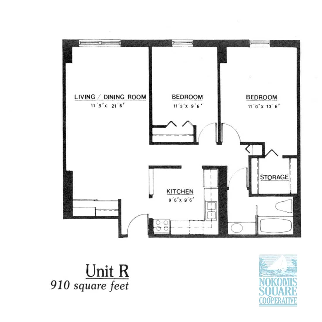 2 br Floorplan Unit R - Nokomis Square Senior Cooperative