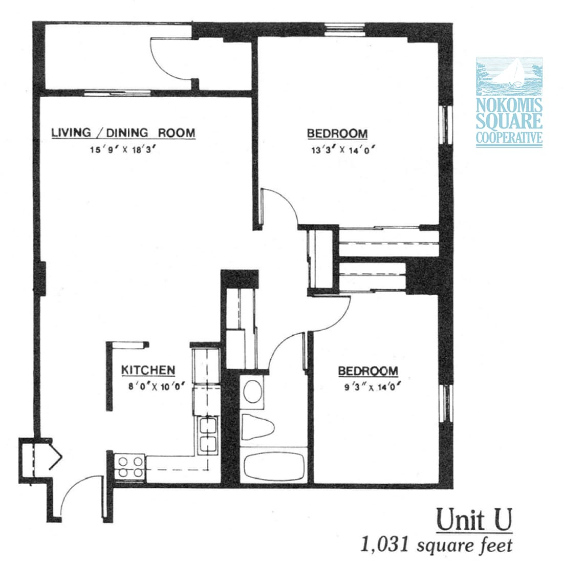 2 br Floorplan Unit U - Nokomis Square Senior Cooperative